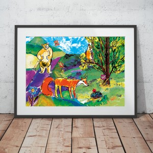 ładny obrazek do dziecięcego pokoju, kolorowy plakat dla dzieci, bajkowa ilustracja