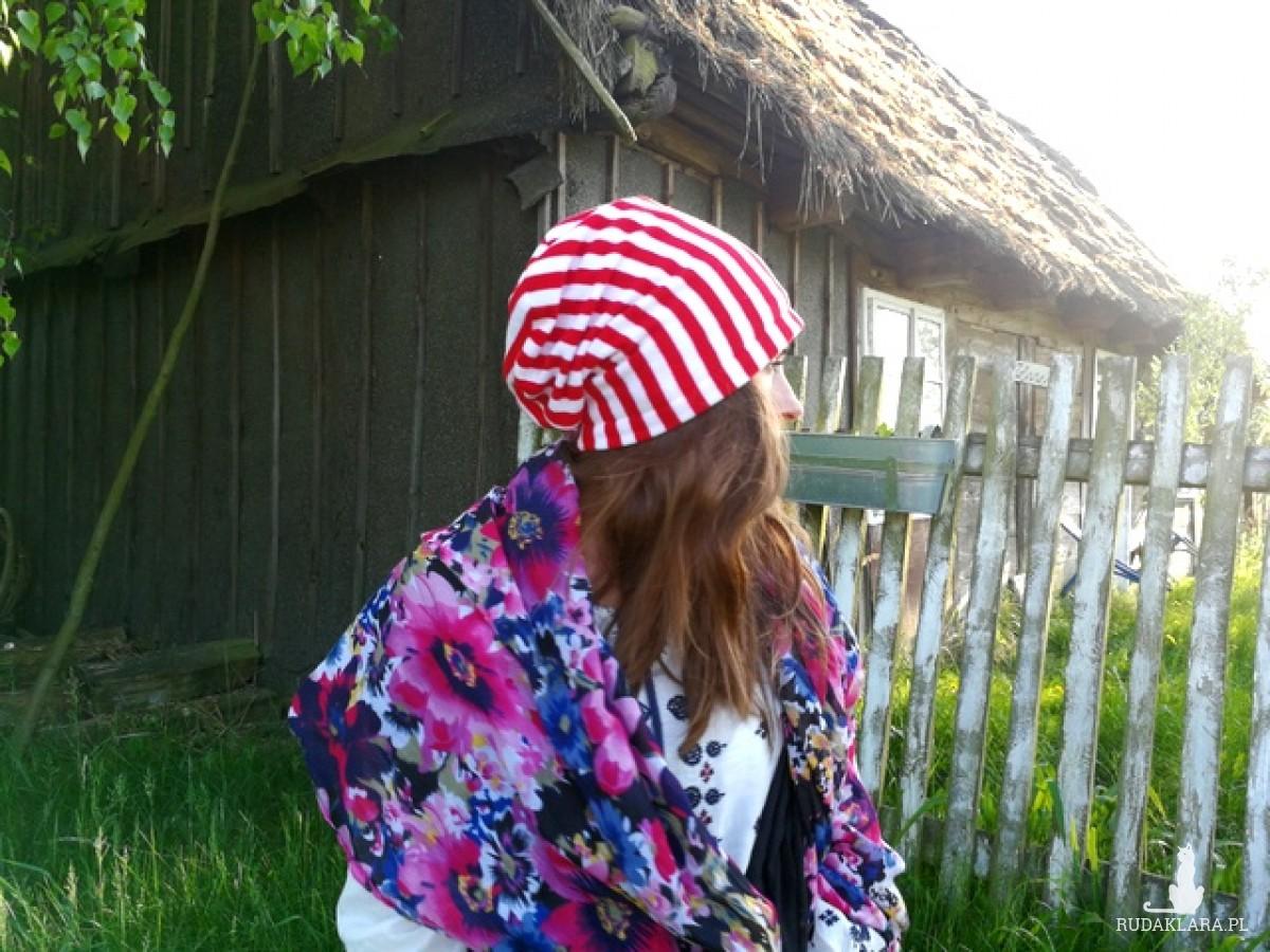 czapka wiosenna patriotka paski unisex