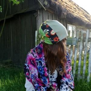 czapka damska dzianina tkanina patchwork