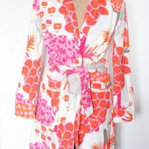 płaszcz damski kolorowy we wzory