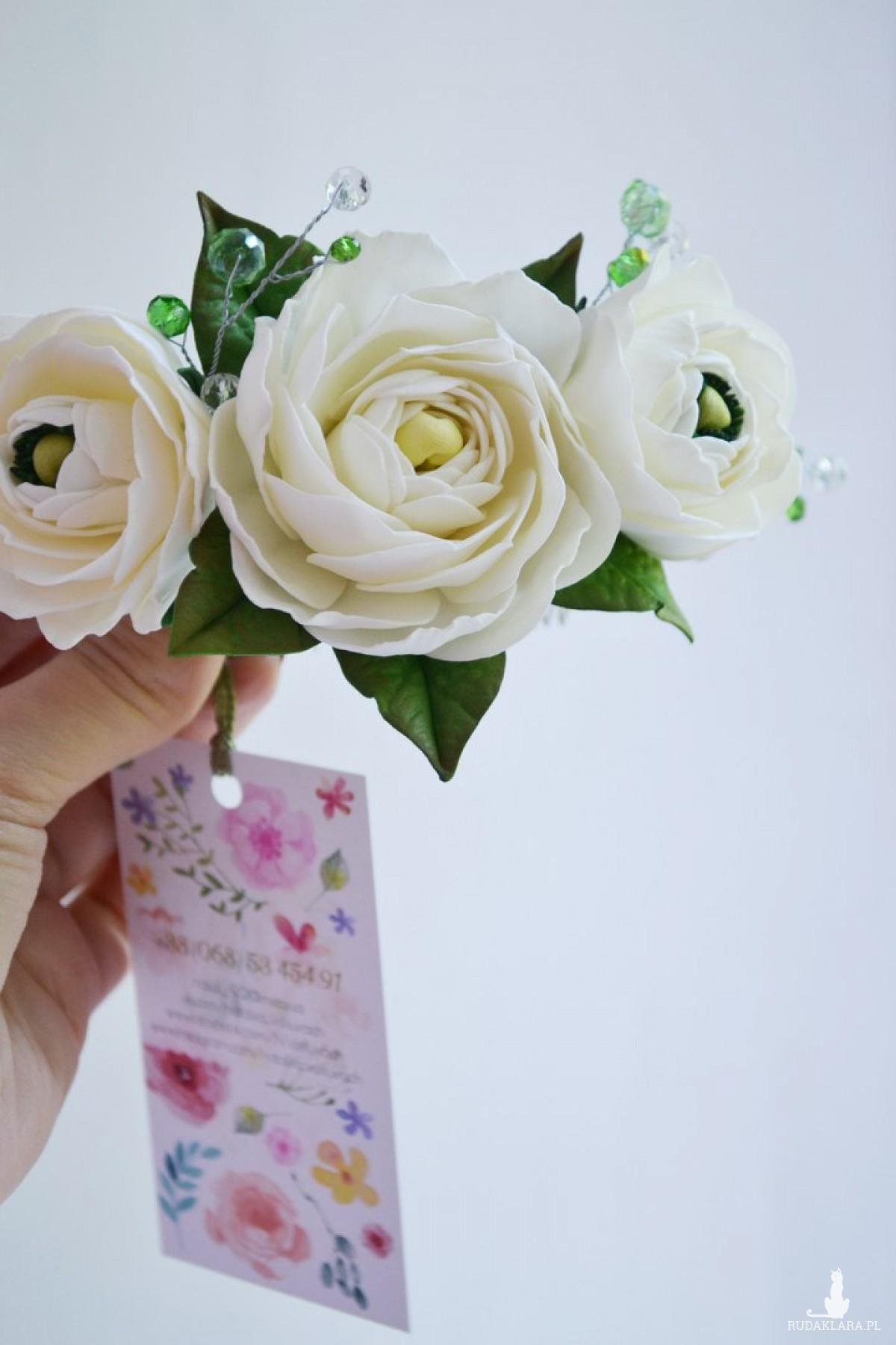 Ślubny grzebyk White Ranunculus