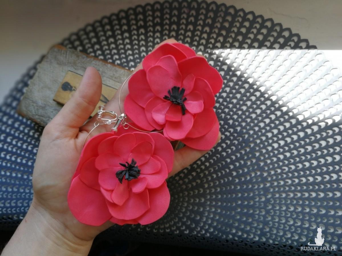 klipsy kwiaty etno maki lekkie