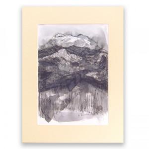 biało czarny rysunek, nowoczesny obraz z górami, pejzaż górski grafika, obraz skandynawski styl