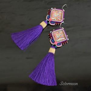 Kolczyki sutasz w stylu boho Ultraviolet