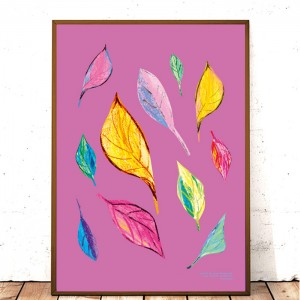 30 x 40 plakat liście, dekoracyjna grafika na ścianę, ładny plakat do salonu, kolorowa grafika do pokoju
