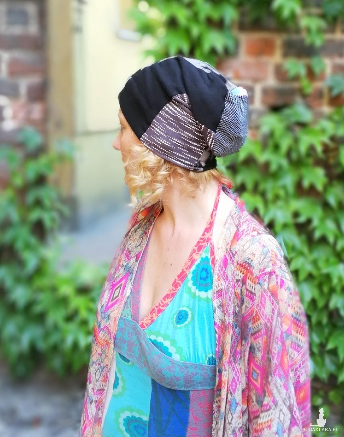czapka smerfetka długa wzory patchwork rekonwalescencja handmade