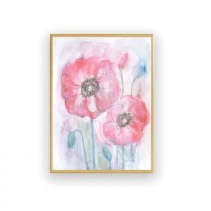 oprawiona akwarela z kwiatami, maki obraz w ramce, malowany ręcznie obrazek