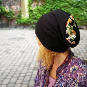 czapka damska przejściówka bawełna kwiaty