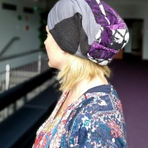 czapka damska wiosenno-rowerowa szyta patchworkowo handmade dresowa