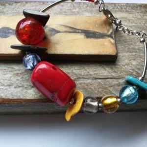 bransoletka kolorowa etno boho koral handmade