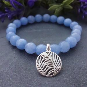 Bransoletka Liść Palmowy Jadeit Błękitny