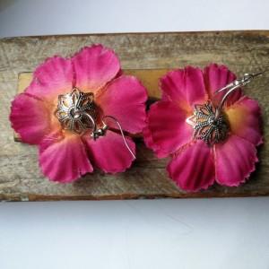 kolczyki długie kolorowe hindi etno boho kwiaty handmade