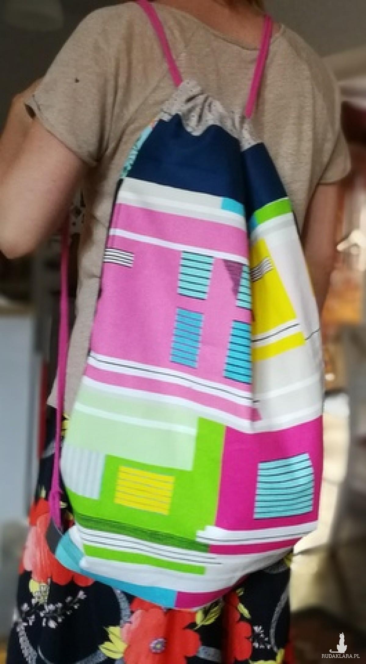 duży plecak worek dwukolorowy prawo-lewo