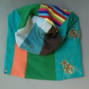 czapka patchwork smerfetka dresowa dzianina pająki