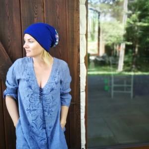 czapka damska niebieska etno miękka