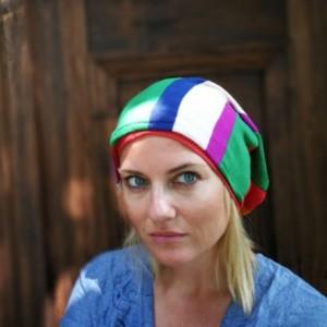 czapka kolorowa patchworkowa duza smerfetka