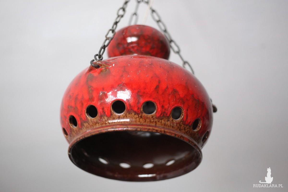 duża ceramiczna szkliwiona lampa na łańcuchu