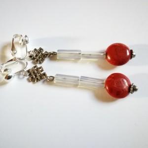 klipsy lekkie koral klasyczne eleganckie handmade