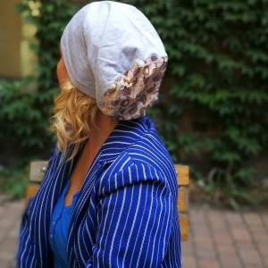 czapka damska szara w jeże przejściówka