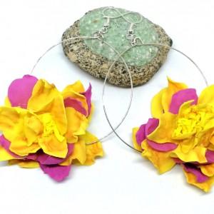 kolczyki kwiaty  flamenco lekkie handmade