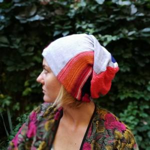 czapka kolorowa artystyczna patchwork miękka