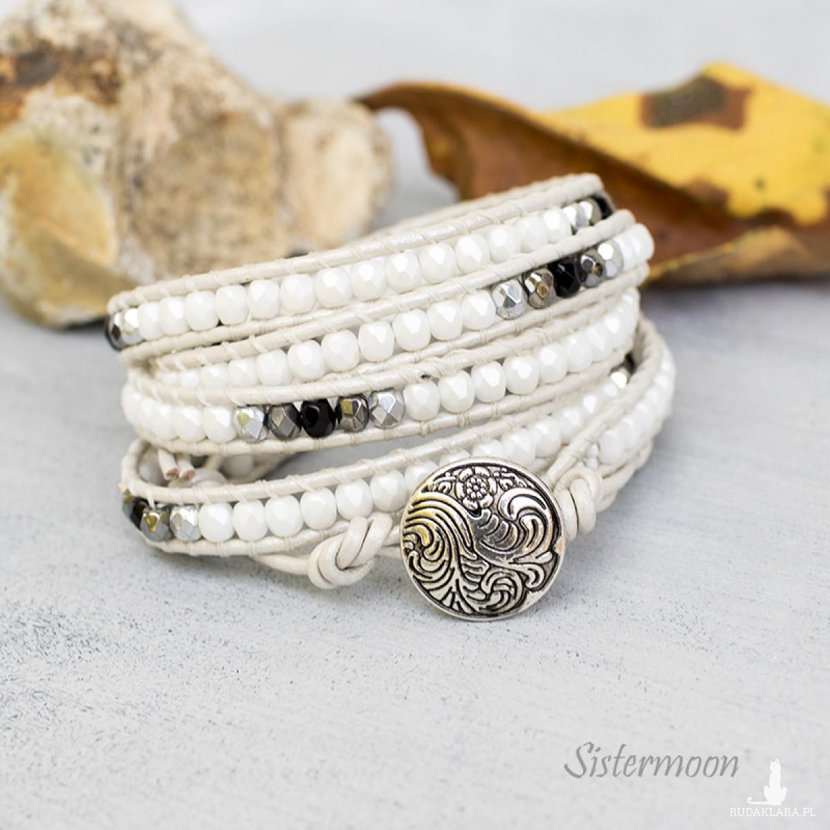 Biała bransoletka boho Pearl