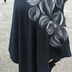 poncho z dzianiny wełnianej czarne
