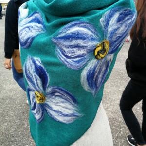 turkusowa chusta handmade wełniana (Kopia)