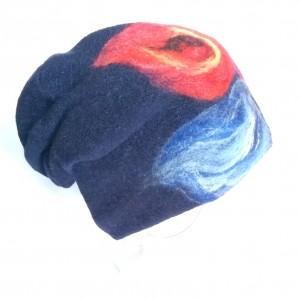 czapka wełniana filcowana granatowa czapka zimowa