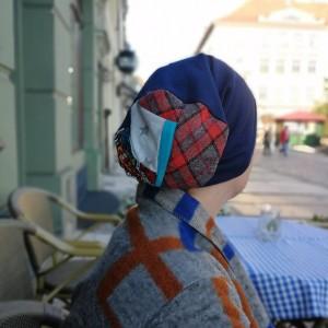 czapka damska granat patchwork sportowa