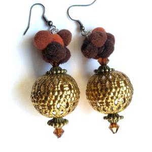 kolczyki wiszące boho etno handmade pompony orient