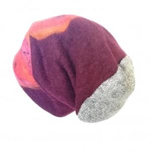czapka wełniana filcowana bordowo- szara zimowa handmade boho