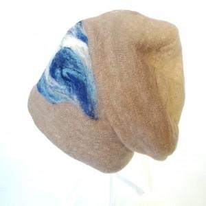 czapka wełniana filcowana beżowa zimowa handmade boho