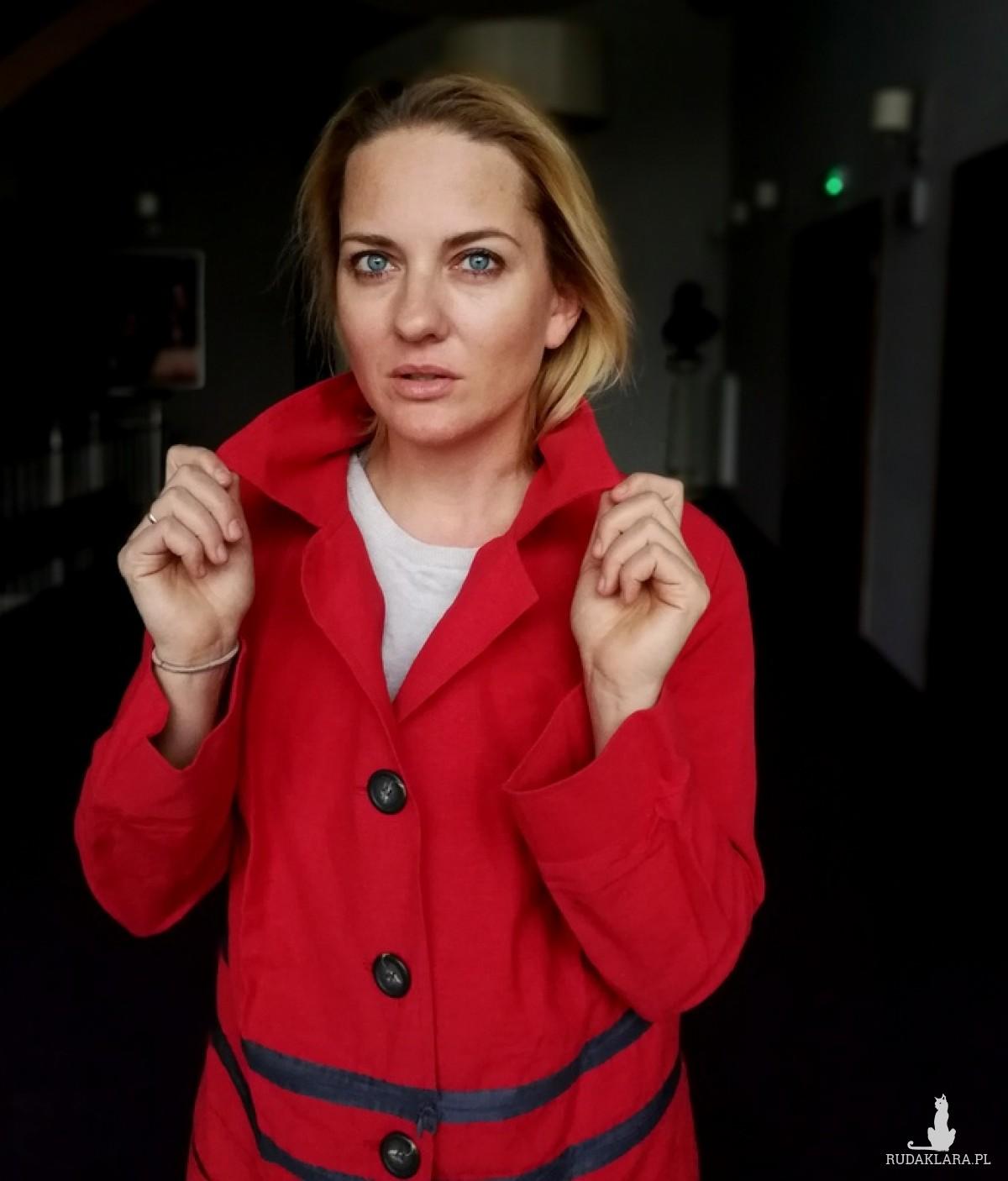 płaszcz czerwony damski bawełna z płótnem handmade