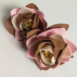klipsy beżowe jesienne kwiatowe handmade folk lekkie