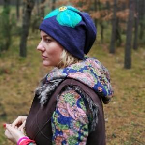 czapka granatowa wełniana zimowa folkowa boho damska handmade