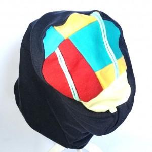 czapka damska patchworkowa na górze boho dresówka granatowa
