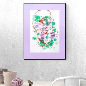 ładna abstrakcja do salonu, kolorowa grafika na ścianę, nowoczesna dekoracja do pokoju, minimalizm obraz do loftu