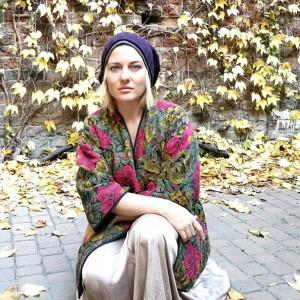 czapka unisex damska męska wełna fioletowa duża zimowa