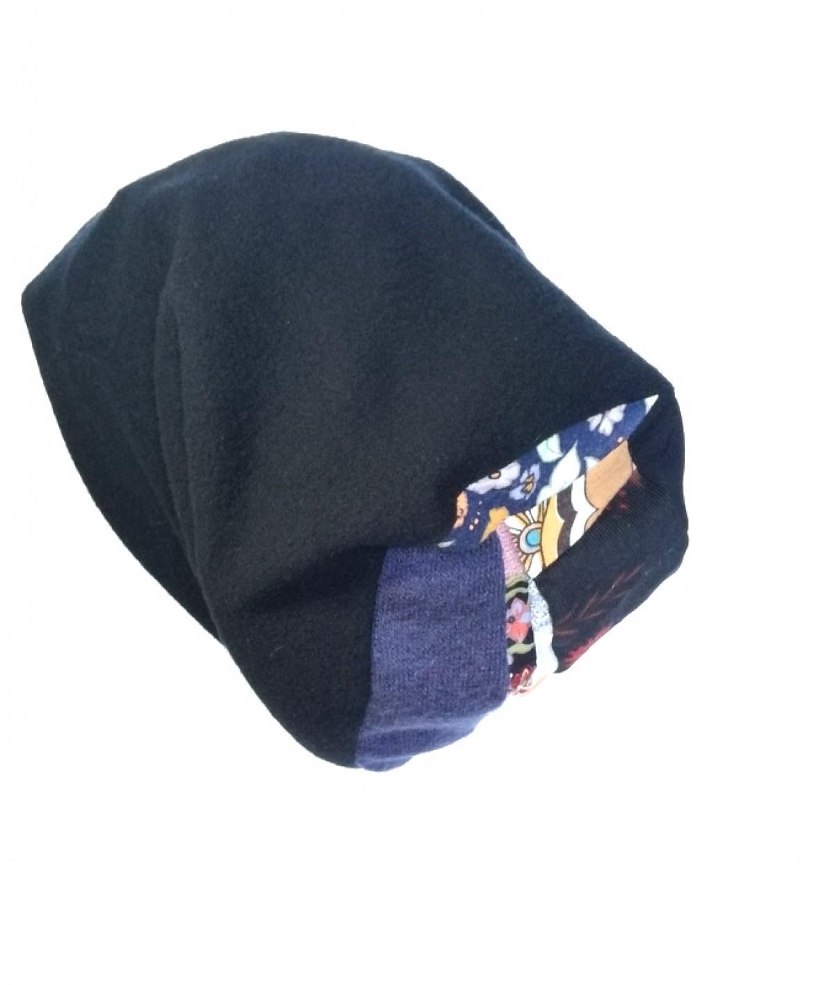 czapka czarna dzianina patchwork zimowa