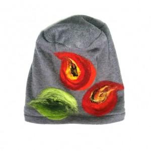 czapka szara wełniana damska etno boho filc