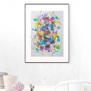 kolorowa grafika do domu, abstrakcja malowana ręcznie, nowoczesny rysunek na ścianę