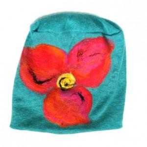 czapka turkus wełniana damska etno boho filc