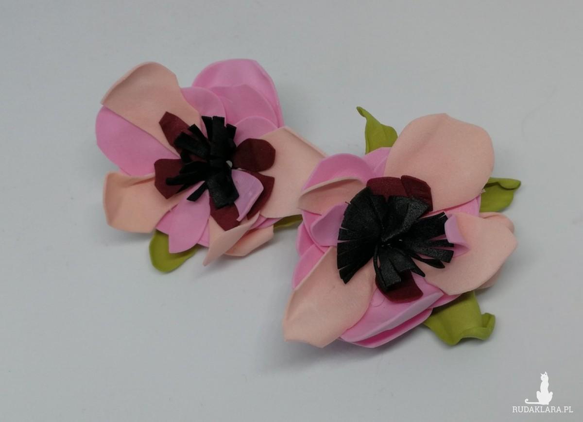 klipsy kwiaty wiśnie lekkie handmade