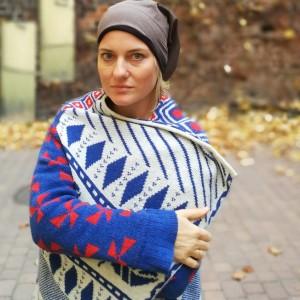 czapka brązowa tkanina góra patchwork damska handmade sportowa