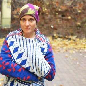 czapka wełniana filcowana fioletowo bezowo brązowa zimowa handmade w kwiaty