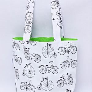 Torba na zakupy, torba shopperka, torba szoperka, eko siatka na zakupy rowery zielone