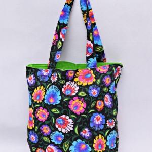 Torba na zakupy, torba shopperka, torba szoperka, eko siatka na zakupy czarny łowicz z zielonym, torba łowicka