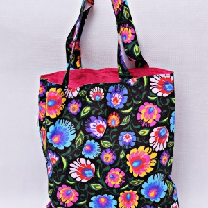 Torba na zakupy, torba shopperka, torba szoperka, eko siatka na zakupy czarny łowicz z różowym, torba łowicka