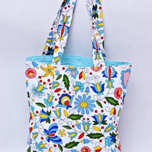 Torba na zakupy, torba shopperka, torba szoperka, eko siatka na zakupy kaszubska z niebieskim, torba ludowa kaszubska